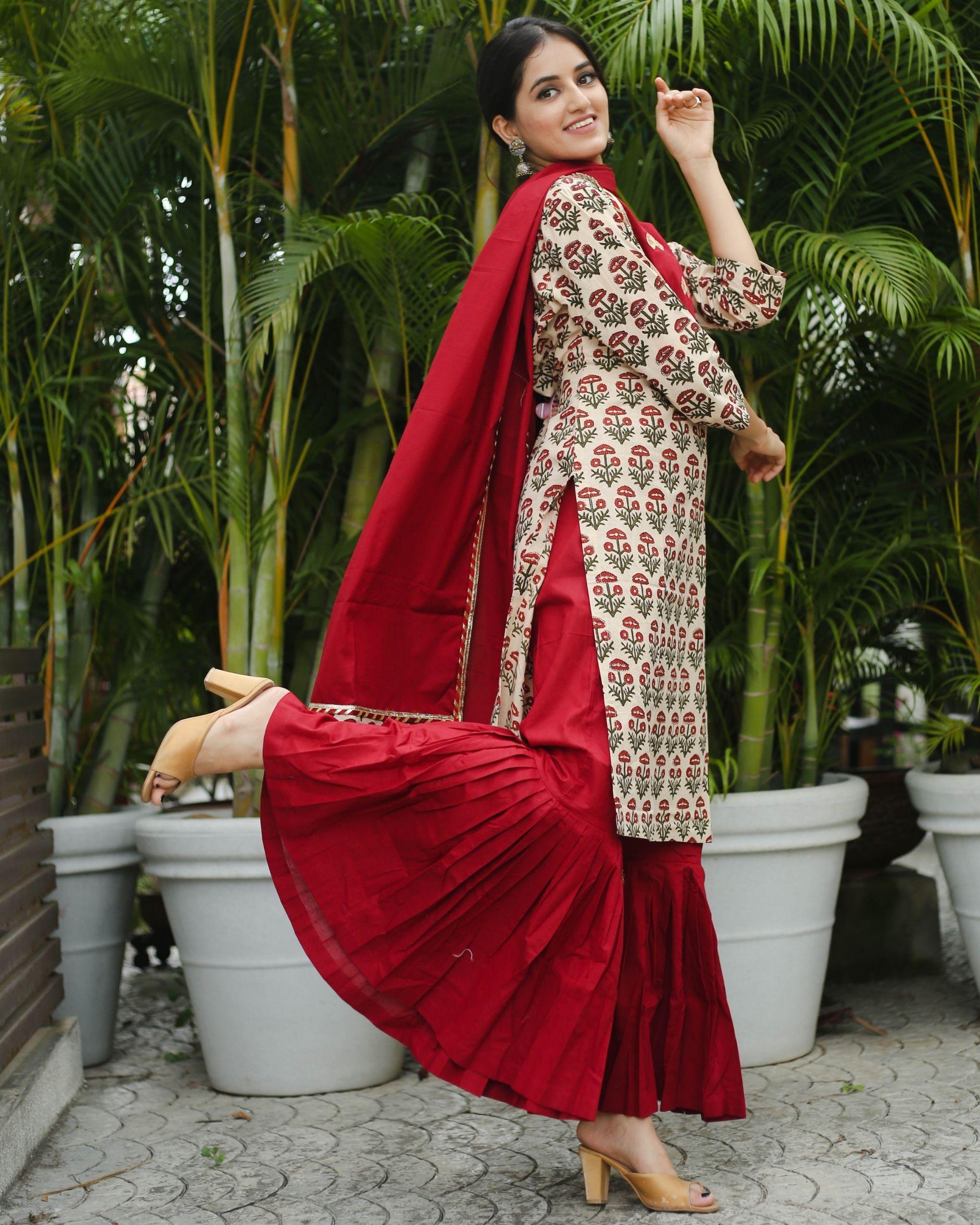 Maroon gharara suit - set of three by Shreetatvam | The