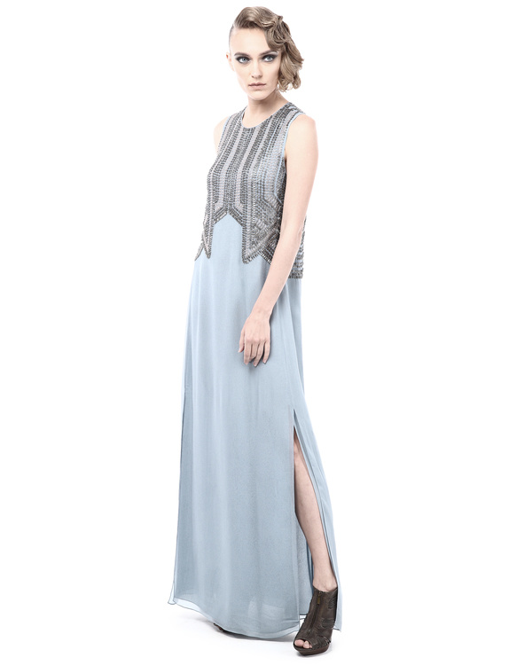 Straight fit evening dress with embroidery details 3