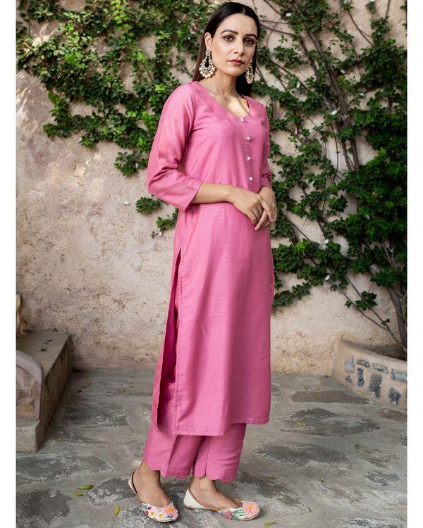 Blush pink silk suit - set of two 2