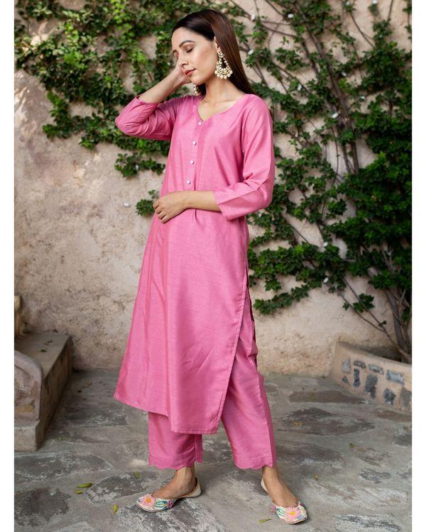 Blush pink silk suit - set of two 1