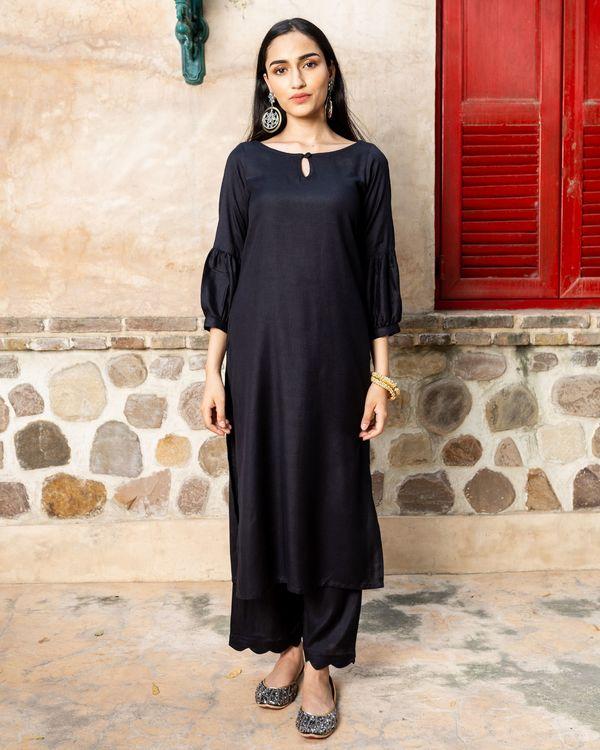 Black solid cotton suit with lurex dupatta - set of three 3