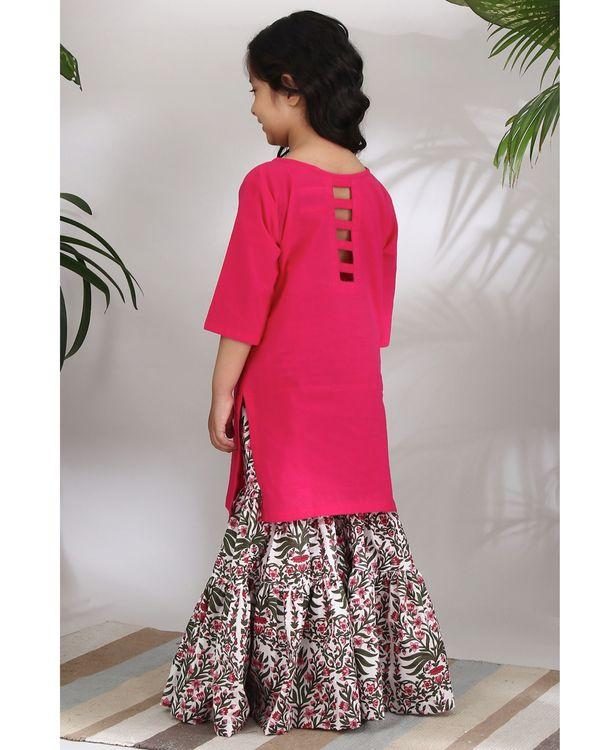 Pink mughal sharara set - set of three 3