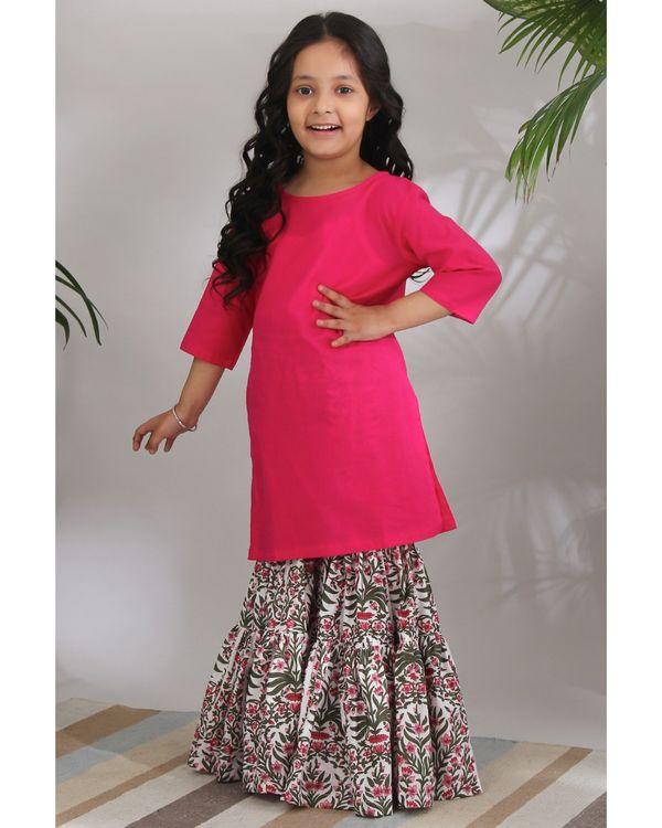 Pink mughal sharara set - set of three 2