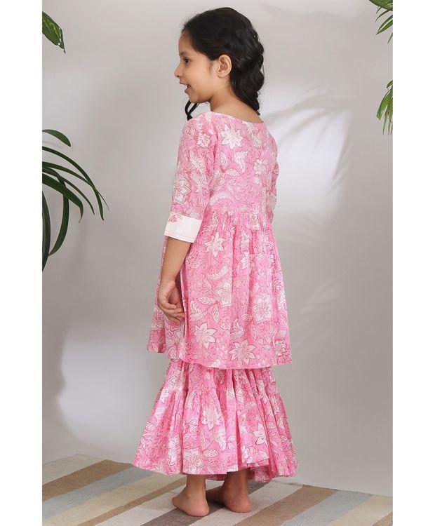 Pink printed sharara - set of two 2