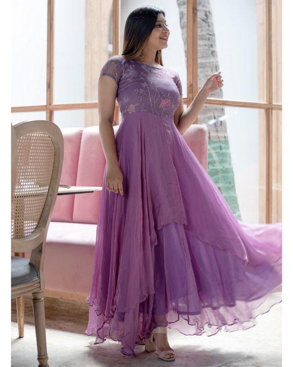 Lavender kota georgette dress 1