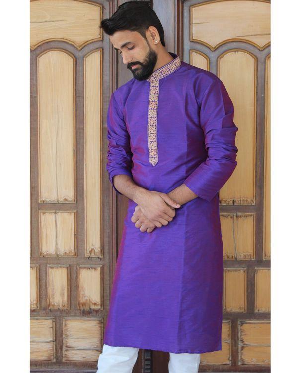 Solid violet kurta set - set of two 1