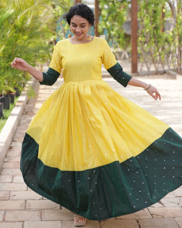 Yellow and green mirror dress 2