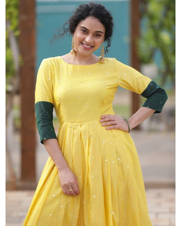 Yellow and green mirror dress 1