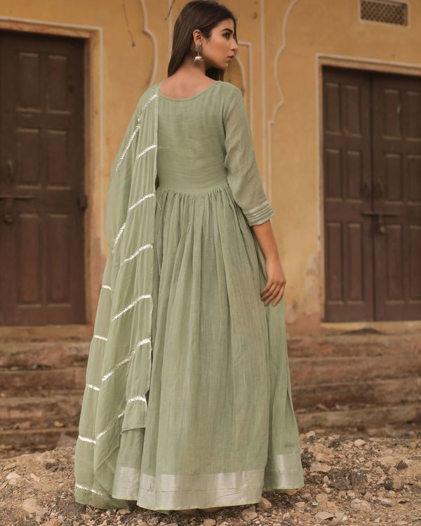 Olive linen dress with dupatta - set of two 3