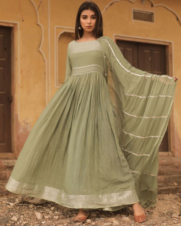 Olive linen dress with dupatta - set of two 2