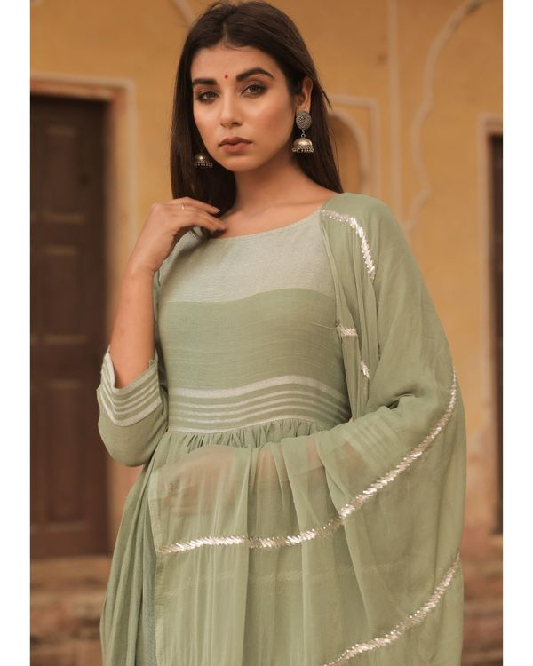 Olive linen dress with dupatta - set of two 1