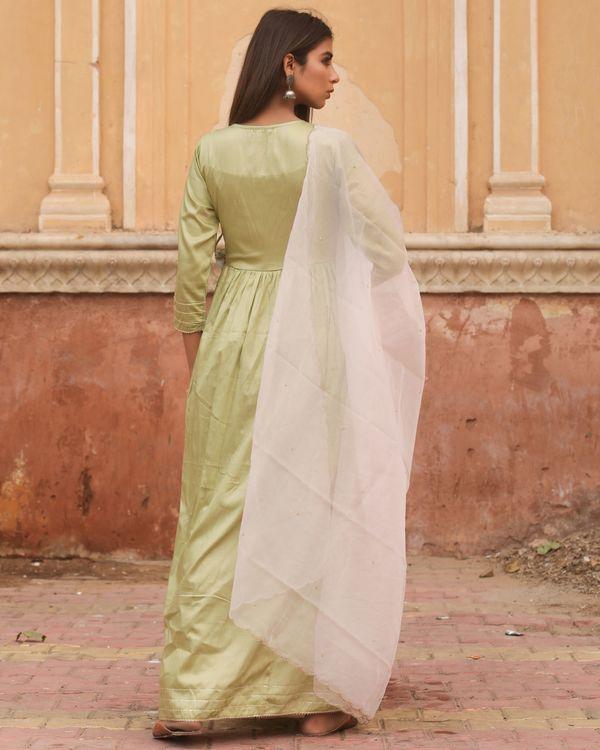 Olive angrakha tasseled dress with dupatta - set of two 4