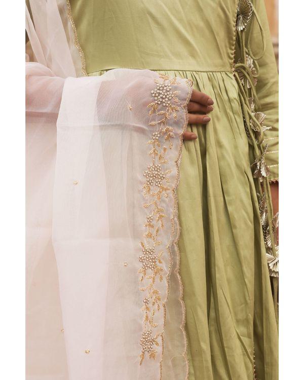 Olive angrakha tasseled dress with dupatta - set of two 3
