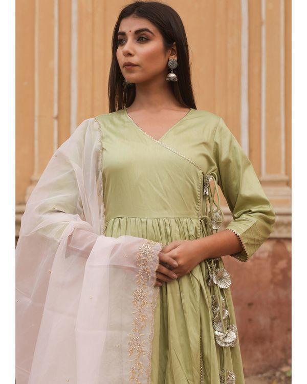 Olive angrakha tasseled dress with dupatta - set of two 2