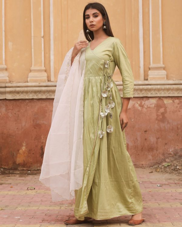 Olive angrakha tasseled dress with dupatta - set of two 1