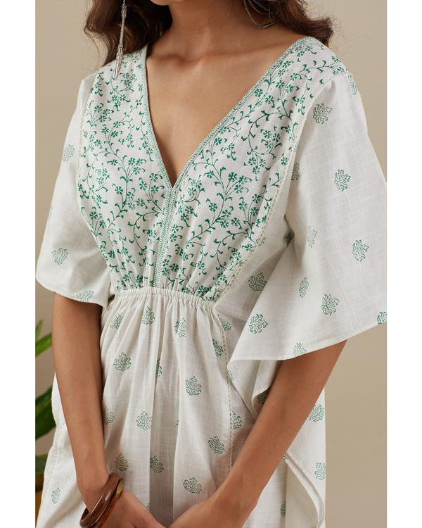 Leafy green kaftan dress 1