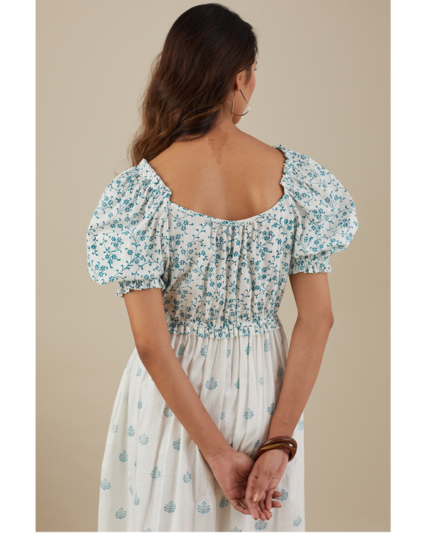 Teal blue floret dress 3