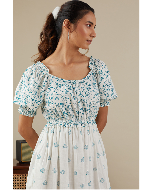 Teal blue floret dress 1