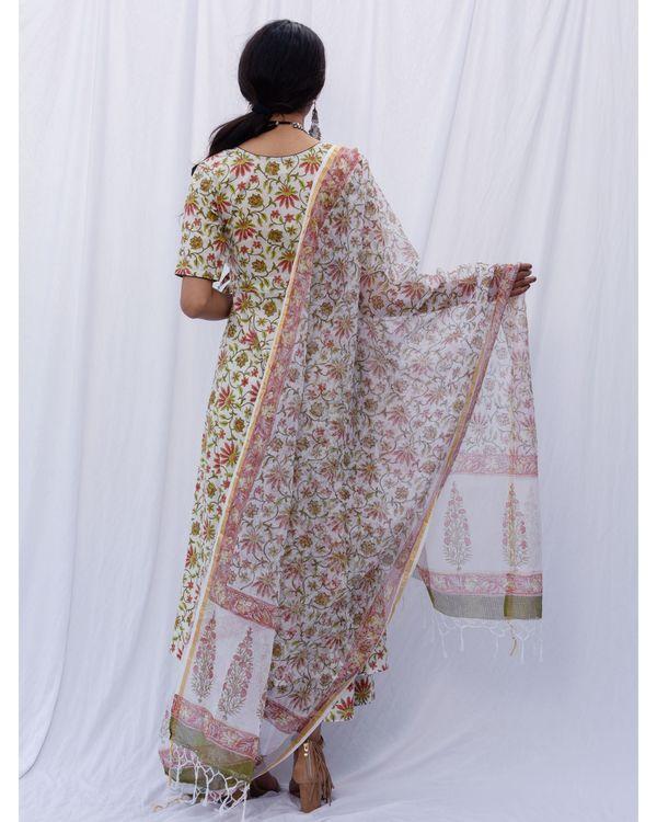 Off white angrakha suit set with dupatta - set of three 3