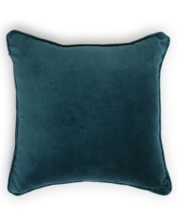 Teal cotton velvet cushion cover 1