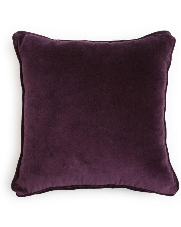 Deep violet cotton velvet cushion cover 1
