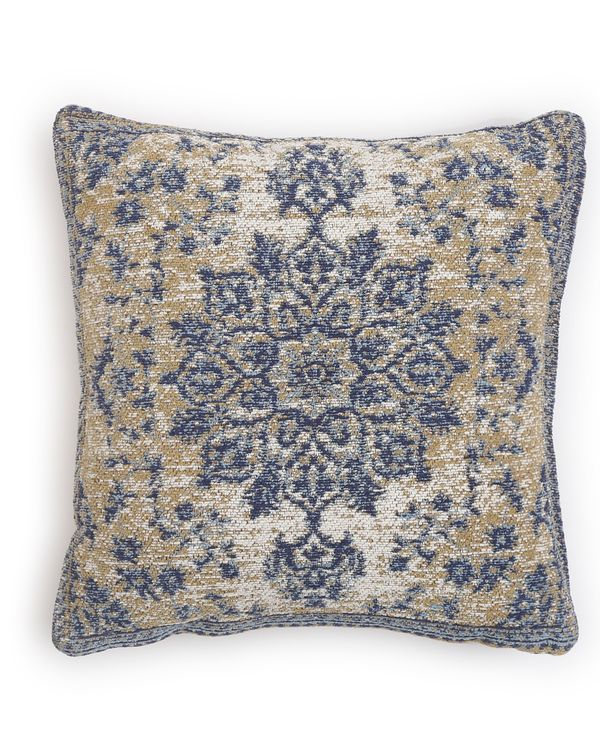 Beige and blue persian cushion cover 1