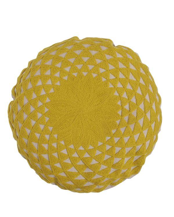 Yellow mandala cushion cover 1