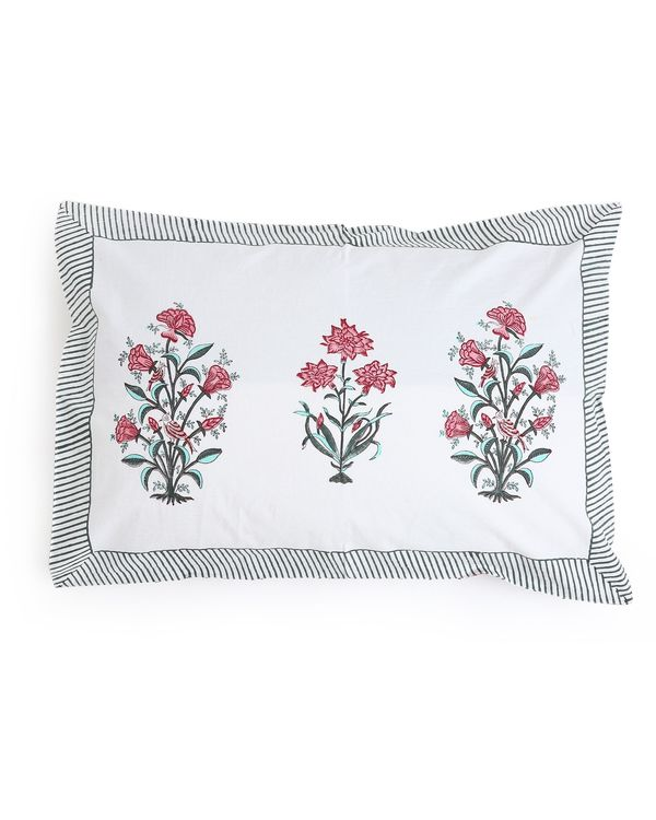 Pink cypress bouquet pillow covers - set of two 1