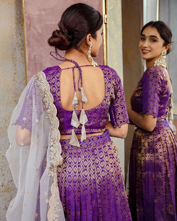 Purple banarsi lehenga choli and dupatta - set of three 3