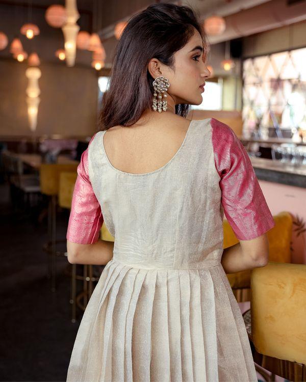 Cream silk pleated gown 3