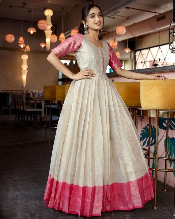 Cream silk pleated gown 1