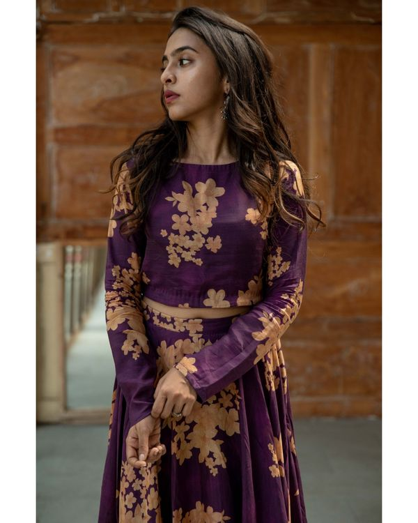Purple floral crop top and skirt - set of two 1