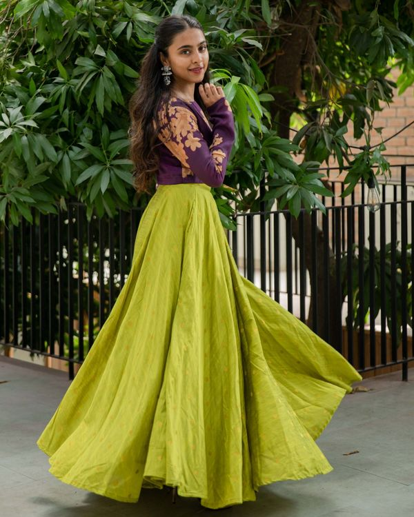 Purple floral crop top and lime skirt - set of two 2