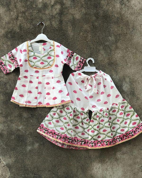 Pink and white lotus sharara set - set of two 1