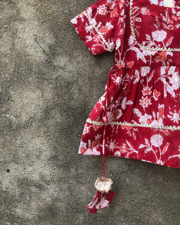 Red floral peplum top with white sharara - set of two 1