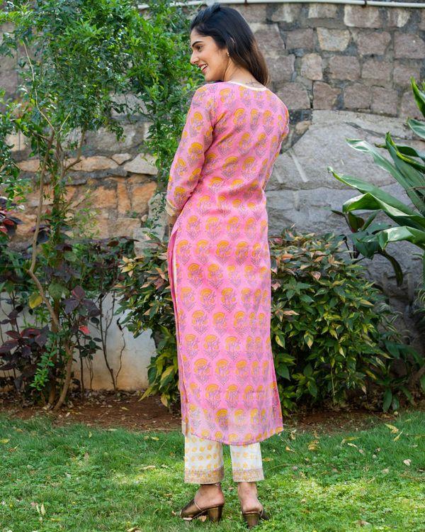 Pink chanderi block printed suit set - set of three 3