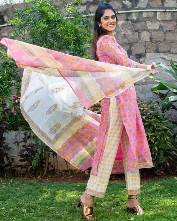 Pink chanderi block printed suit set - set of three 2