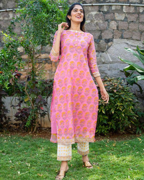 Pink chanderi block printed suit set - set of three 1