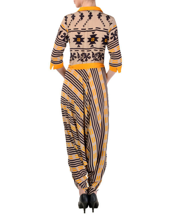 Brown jumpsuit with handkerchief hem 2