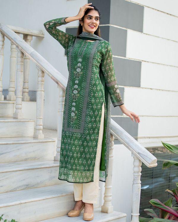 Green yoke suit set with dupatta - set of three 2