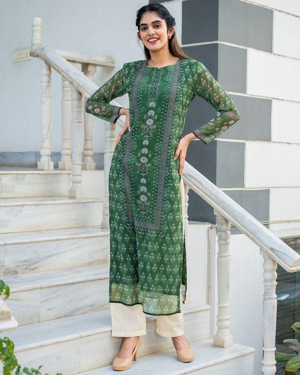 Green yoke suit set with dupatta - set of three 1