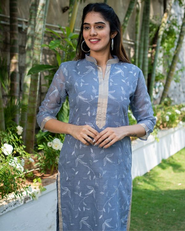 Grey embroidered kurta with dupatta - set of two 1