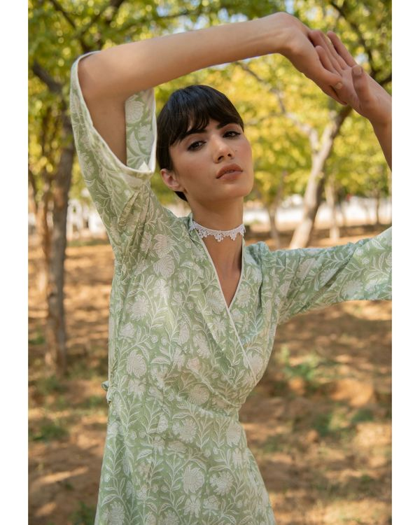 Pastel green wrap dress 1