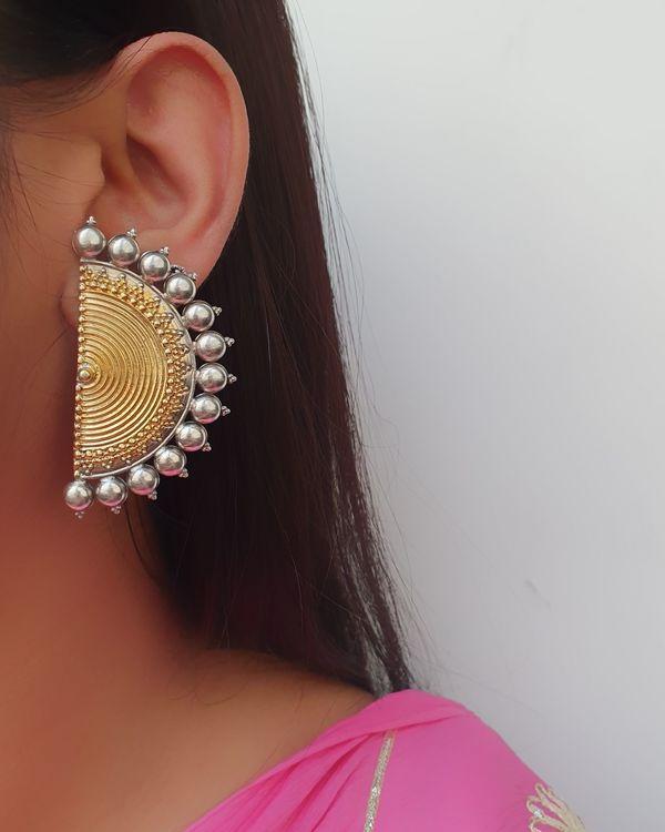 Dual tone half moon earrings  2