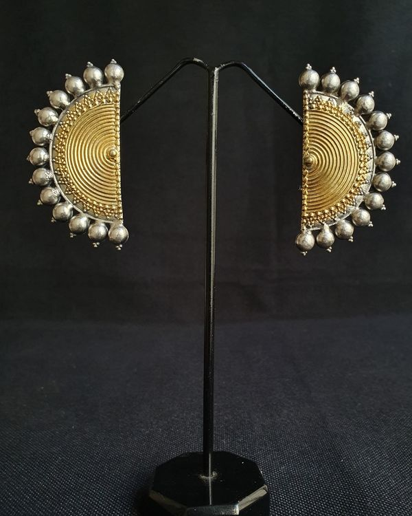 Dual tone half moon earrings  1