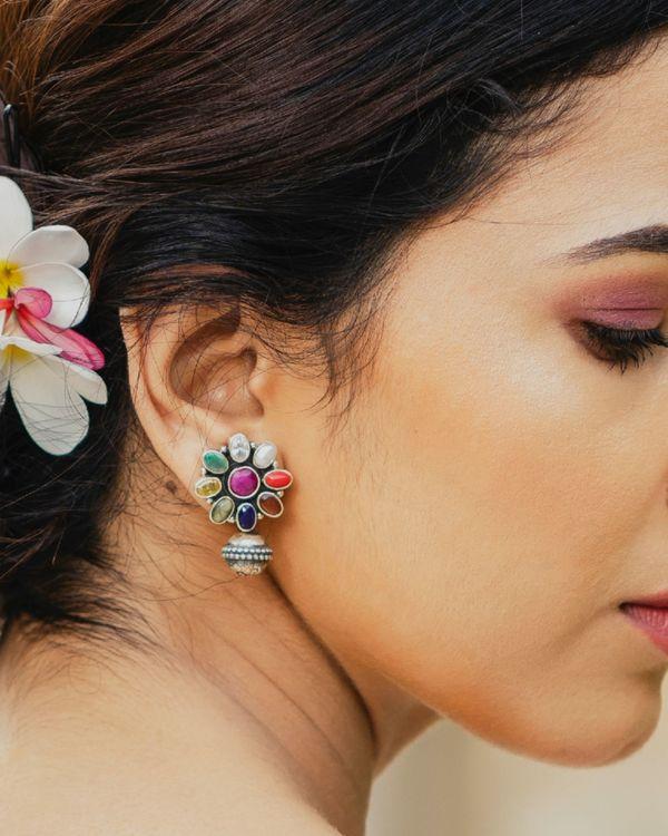 Navratna floral earrings  1
