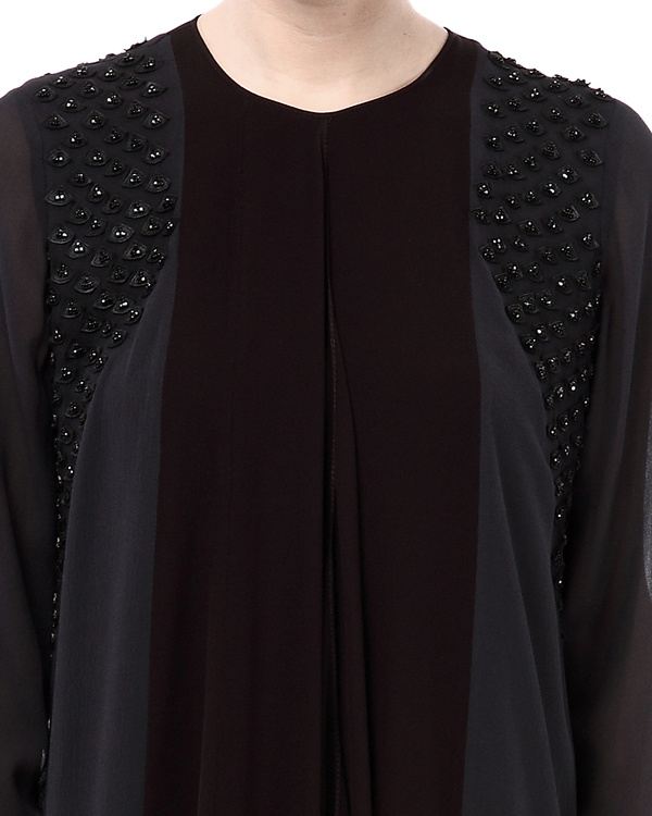 Cinnamon & coffee blouse with embroidered shoulders 1
