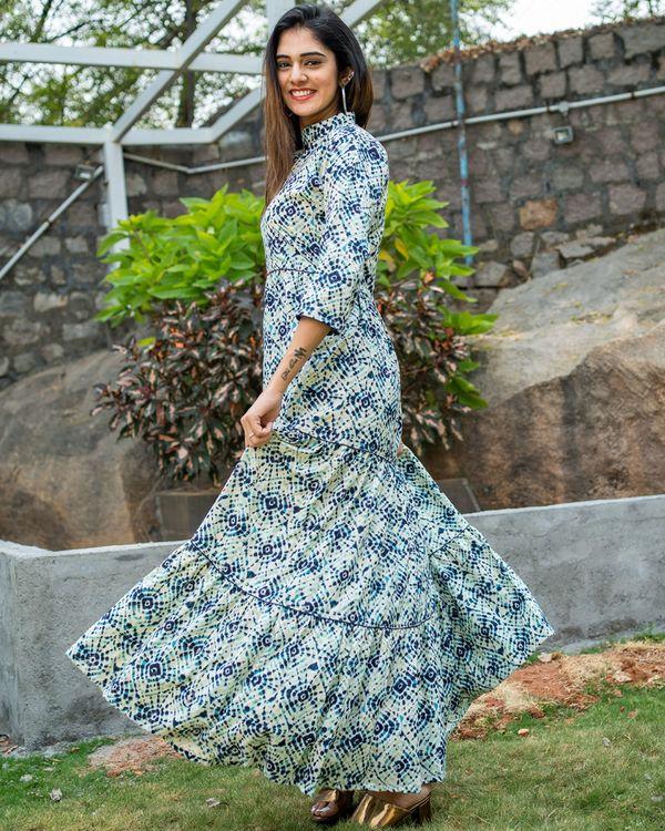 Blue tie dye layered dress 3