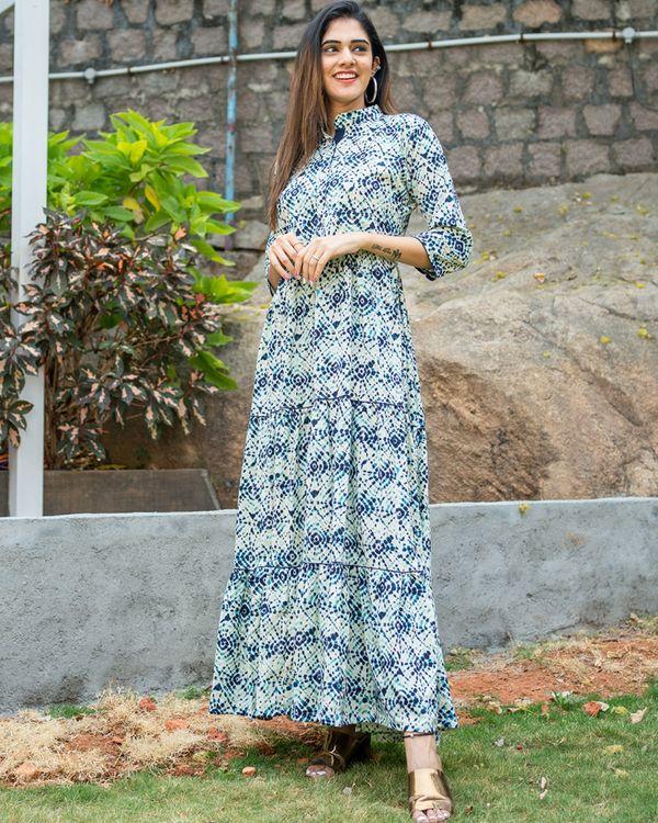 Blue tie dye layered dress 2
