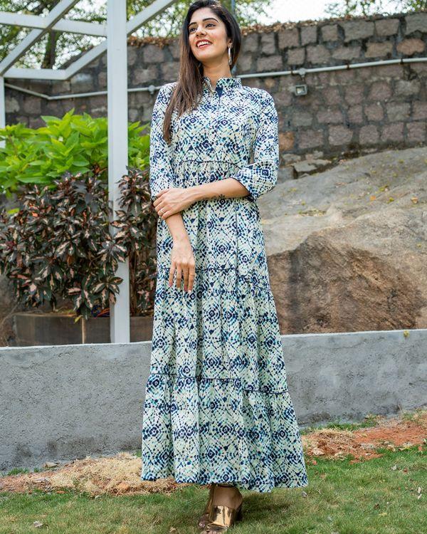 Blue tie dye layered dress 1